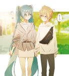 1boy 1girl ? absurdres aqua_hair bag bangs black_pants blonde_hair blue_eyes blurry blurry_background blush commentary couple expressionless feet_out_of_frame hair_ornament hatsune_miku hetero highres holding_hands hood hoodie jacket kagamine_len long_hair looking_at_another miniskirt outdoors pants shirt shoulder_bag skirt sleeves_past_wrists smile spoken_question_mark thought_bubble translated tree twintails very_long_hair vocaloid walking white_hoodie white_shirt white_skirt zamt_02