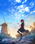 1girl adapted_costume anonamos arknights artist_name bag black_legwear clouds condensation_trail energy_wings exusiai_(arknights) hair_over_one_eye halo highres mountain path petals plant red_eyes red_sash redhead sash school_bag short_hair smile solo standing standing_on_one_leg sunset thigh-highs tree windmill zettai_ryouiki