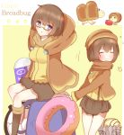 2girls blue_eyes blush breadbug breasts brown_hair brown_sweater closed_eyes closed_mouth coffee_mug compass cup doughnut english_text eraser eyebrows_visible_through_hair flying_sweatdrops food giant_breadbug glasses highres legs looking_at_viewer mug multiple_girls non_(wednesday-classic) open_mouth personification pikmin_(series) pikmin_2 pulling sitting small_breasts sweater sweets