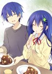 1boy 1girl blue_hair clover_hair_ornament curry date_a_live food four-leaf_clover_hair_ornament genderswap genderswap_(mtf) hair_ornament highres itsuka_shidou itsuka_shiori school_uniform spoon time_paradox tsunako