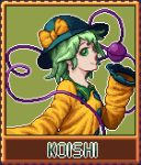 1girl bow closed_mouth eyeball from_side green_eyes green_hair hat hat_bow hat_ribbon komeiji_koishi long_sleeves lowres nukekip pixel_art ribbon self_upload shirt short_hair smile solo third_eye touhou wide_sleeves yellow_ribbon yellow_shirt
