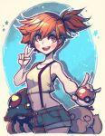 1girl absurdres cowboy_shot denim denim_shorts faux_traditional_media gen_1_pokemon gym_leader highres holding holding_poke_ball kasumi_(pokemon) orange_hair parororo poke_ball poke_ball_(generic) pokemon pokemon_(anime) pokemon_(classic_anime) pokemon_(creature) psyduck revision shorts side_ponytail suspenders tentacruel