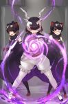3girls antelope_ears antelope_horns australian_devil_(kemono_friends) bare_shoulders black_bow black_cape black_dress black_hair blackbuck_(kemono_friends) bow bowtie brown_gloves cape commentary_request detached_sleeves dress eyebrows_visible_through_hair eyepatch gloves hair_over_one_eye hammer highres kemono_friends magic medical_eyepatch multicolored_hair multiple_girls pantyhose puffy_shorts red_eyes short_hair shorts tadano_magu tasmanian_devil_(kemono_friends) tasmanian_devil_ears two-tone_hair white_gloves white_hair white_legwear white_shorts