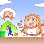 1boy 1girl barefoot blonde_hair brick brown_footwear brown_hair clouds commentary_request cosplay doma_taihei doma_umaru flying_sweatdrops giantess glasses hamster hamster_hood highres hill himouto!_umaru-chan kobayashimannga komaru long_sleeves mario mario_(cosplay) mario_(series) mushroom outdoors overalls parody pipe red_shirt scared shirt shoes speech_bubble super_mario_bros. toes