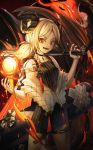 1girl absurdres arknights bangs black_choker blonde_hair choker collarbone commentary_request dress eyebrows_visible_through_hair fangs fire gun highres holding holding_gun holding_weapon horns huge_filesize ifrit_(arknights) ildy long_hair looking_at_viewer orange_eyes parted_bangs red_nails smile solo twintails weapon yellow_nails