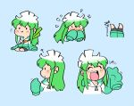 1girl :d bike_shorts blue_background blush_stickers chibi closed_eyes commentary english_commentary flying_sweatdrops green_hoodie hood hood_down hoodie konegi_(rariatto) multicolored_hair multiple_views open_mouth original parted_lips rariatto_(ganguri) simple_background sitting sleeves_past_fingers sleeves_past_wrists smile spring_onion two-tone_hair upside-down v very_long_sleeves