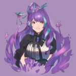 1girl asymmetrical_clothes bangs black_neckwear blue_hair closed_mouth cropped_torso hair_ornament hairpin long_hair looking_at_viewer macross macross_delta mikumo_guynemer multicolored_hair purple_background purple_hair red_eyes shimatani_azu shiny shiny_hair simple_background sketch smile solo tied_hair two-tone_hair upper_body very_long_hair