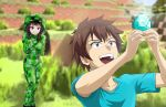 1boy 1girl :d absurdres arms_up blue_shirt blurry blurry_background brown_hair collarbone commentary cosplay creeper creeper_(cosplay) diamond_(gemstone) english_commentary grass green_eyes grin highres holding hood hoodie huge_filesize kono_subarashii_sekai_ni_shukufuku_wo! looking_at_another looking_up luizhtx megumin minecraft onesie open_mouth outdoors plant red_eyes satou_kazuma shirt short_hair_with_long_locks short_sleeves sleeves_past_fingers sleeves_past_wrists smile sparkle standing steve? steve?_(cosplay) t-shirt teeth
