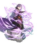1girl black_dress black_feathers book cape casting_spell dress eyebrows_visible_through_hair feathers fire_emblem fire_emblem_heroes hair_between_eyes highres holding holding_book long_dress long_hair magic miwabe_sakura official_art outstretched_hand purple_hair solo sophia_(fire_emblem) very_long_hair violet_eyes