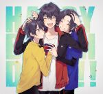 3boys :d ;) ^_^ background_text bangs black_hair black_jacket black_pants blue_shirt brothers chisumi closed_eyes closed_mouth collarbone collared_shirt commentary_request eyebrows_visible_through_hair gift green_eyes grey_background grin hair_between_eyes hand_on_another's_head happy_birthday highres holding holding_gift hypnosis_mic jacket jewelry layered_sleeves long_sleeves male_focus mole mole_under_mouth multiple_boys one_eye_closed open_clothes open_jacket open_mouth outline pants ring shirt short_over_long_sleeves short_sleeves siblings smile star_(symbol) white_outline white_shirt yamada_ichirou_(hypnosis_mic) yamada_jirou yamada_saburou yellow_shirt