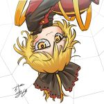 1girl avatar_icon blonde_hair bow brown_dress chamaji commentary_request dress eyebrows_visible_through_hair hair_bow hair_ribbon kurodani_yamame long_sleeves looking_at_viewer lowres partial_commentary ribbon short_hair signature silk solo spider_web touhou upper_body upside-down white_background yellow_eyes yellow_ribbon