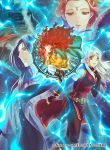 1boy 3girls bangle bare_shoulders belt black_gloves black_legwear blue_fire blue_hair blue_scarf boots bracelet circlet closed_eyes dress elbow_gloves fingerless_gloves fire fire_emblem fire_emblem:_radiant_dawn fire_emblem_cipher gloves hair_ribbon half_updo jewelry kita_senri long_hair looking_to_the_side medallion micaiah_(fire_emblem) multiple_girls official_art orange_hair pantyhose ribbon scarf sephiran_(fire_emblem) side_slit silver_hair sleeveless sleeveless_dress yellow_eyes yune_(fire_emblem)