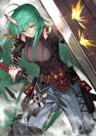 1girl 55level absurdres arknights arm_ribbon arm_scarf bangs belt blue_pants breasts dragon_horns green_eyes green_hair hair_between_eyes highres holding holding_shield holding_sword holding_weapon horn horns hoshiguma_(arknights) large_breasts long_hair mask oni_horn oni_horns pants ribbon sheath shield skin-covered_horns smile smirk standing sword unsheathing weapon