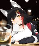 1girl alcohol animal_ear_fluff animal_ears bangs black_hair blurry blush breast_rest breasts closed_mouth collarbone copyright_name counter cup drinking_glass hair_ornament hairclip head_rest highres hololive long_hair long_sleeves looking_at_viewer medium_breasts multicolored_hair nejime ookami_mio redhead signature solo streaked_hair upper_body virtual_youtuber wolf_ears wolf_girl yellow_eyes