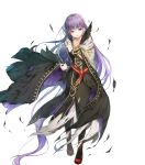 1girl absurdly_long_hair black_dress black_feathers black_legwear book cape collarbone dress eyebrows_visible_through_hair feathers fire_emblem fire_emblem_heroes hair_between_eyes highres holding holding_book long_dress long_hair miwabe_sakura official_art purple_hair red_footwear shoes solo sophia_(fire_emblem) torn_cape torn_clothes torn_dress torn_legwear very_long_hair violet_eyes