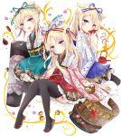 3girls :d absurdres animal_ears black_legwear blonde_hair blue_bow blue_eyes blue_kimono blue_nails blue_skirt blush bow brown_footwear character_request closed_mouth commentary_request cup drinking floral_print frilled_skirt frills gradient_kimono hair_bow hair_bun hands_together highres holding holding_cup japanese_clothes kimono long_hair multiple_girls nail_polish open_mouth own_hands_together palms_together print_kimono red_bow red_kimono side_bun sinoalice skirt smile striped striped_bow striped_kimono teapot thigh-highs tsukiyo_(skymint) vertical-striped_kimono vertical_stripes very_long_hair white_background wide_sleeves zouri