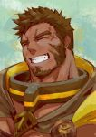 1boy absurdres bara beard belt brown_hair cape chest closed_eyes eoy4yehexyyhqgf facial_hair hercules_(tokyo_houkago_summoners) highres jewelry male_focus muscle pectorals scar simple_background smile solo teeth tokyo_houkago_summoners upper_body