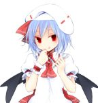 1girl :q blue_hair brooch commentary_request curiosities_of_lotus_asia dress fork hands_up hat hat_ribbon holding holding_fork jewelry kazeharu looking_at_viewer red_eyes red_neckwear red_ribbon remilia_scarlet ribbon short_hair short_sleeves simple_background solo tongue tongue_out touhou upper_body white_background white_dress white_headwear wings wrist_cuffs