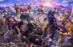 4boys 4girls aqua_hair areadbhar_(fire_emblem) arm_guards armor aymr_(weapon) binding_blade_(weapon) blue_hair book byleth_(fire_emblem) byleth_(fire_emblem)_(female) cape chrom_(fire_emblem) coat corrin_(fire_emblem) corrin_(fire_emblem)_(female) failnaught_(fire_emblem) falchion_(fire_emblem) fingerless_gloves fire fire_emblem fire_emblem:_mystery_of_the_emblem fire_emblem:_path_of_radiance fire_emblem:_the_binding_blade fire_emblem:_three_houses fire_emblem_awakening fire_emblem_fates flaming_sword flaming_weapon freeze-ex gloves hairband headband ike_(fire_emblem) lucina lucina_(fire_emblem) marth_(fire_emblem) mountainous_horizon multiple_boys multiple_girls planted_sword planted_weapon ragnell redhead robin_(fire_emblem) robin_(fire_emblem)_(female) roy_(fire_emblem) serious silver_hair sleeveless smile squatting standing sun sunlight sunrise super_smash_bros. sword sword_of_the_creator tiara twintails water waterfall weapon wind yato_(fire_emblem)