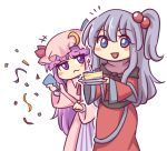 2girls :d bangs blue_bow blue_eyes blunt_bangs blush_stickers bow cake candle commentary confetti cowboy_shot crescent crescent_hair_ornament dress eyebrows_visible_through_hair food grey_hair hair_between_eyes hair_bobbles hair_ornament hat hat_bow holding holding_plate long_hair long_sleeves looking_at_viewer mob_cap multiple_girls one_side_up open_mouth party_popper patchouli_knowledge pink_dress pink_headwear plate purple_bow purple_hair red_dress shinki simple_background smile standing touhou touhou_(pc-98) very_long_hair violet_eyes white_background wide_sleeves wool_(miwol)