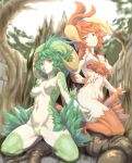 absurdres breasts closed_mouth forest highres horns kous_(onetwojustice) long_hair looking_at_viewer monster_girl multiple_girls nature navel open_mouth saga saga_frontier saga_frontier_2