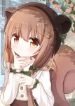1girl :t animal_ears animal_hat bangs blush bow brown_eyes brown_hair brown_headwear brown_skirt closed_mouth collared_shirt commentary_request dress_shirt eyebrows_visible_through_hair fake_animal_ears flower green_bow hair_between_eyes hair_bow hair_ornament hair_over_shoulder hairclip hands_up hat index_finger_raised long_hair looking_at_viewer original pink_flower shirt skirt solo squirrel_ears squirrel_tail suspender_skirt suspenders tail very_long_hair white_shirt yuuhagi_(amaretto-no-natsu)