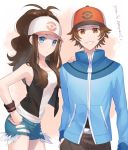 1boy 1girl antenna_hair baseball_cap blue_eyes blue_jacket blue_shorts breasts brown_eyes brown_hair brown_pants closed_mouth collarbone grin hand_in_pocket hand_on_another's_shoulder hat highres jacket leaning_forward long_hair long_sleeves looking_at_viewer medium_breasts miyamotokannn pants poke_ball_print pokemon pokemon_(game) pokemon_bw print_headwear shiny shiny_hair shirt short_shorts shorts sleeveless sleeveless_shirt smile torn_clothes torn_shorts touko_(pokemon) touya_(pokemon) very_long_hair white_headwear white_shirt wristband