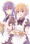 2girls absurdres apron bag bangs blue_eyes blue_hair bread closed_mouth croissant dress eyebrows_visible_through_hair food highres holding holding_bag holding_tray koisuru_asteroid konohata_mira maid maid_apron maid_headdress manaka_ao mary_janes multiple_girls nyaa_(nnekoron) open_mouth orange_eyes orange_hair paper_bag pinafore_dress puffy_short_sleeves puffy_sleeves ribbon shoes short_sleeves simple_background smile standing star tongs tray white_apron white_background