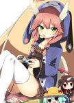 1girl azur_lane bangs blue_hoodie chips collarbone commentary_request controller dragon_horns eyebrows_visible_through_hair food food_in_mouth game_controller green_eyes hair_ribbon hat highres holding holding_controller hood hood_up hoodie horns long_hair long_sleeves looking_at_viewer loungewear mikazuki_(azur_lane) mogami_(azur_lane) mouth_hold open_clothes open_hoodie pink_hair playstation_controller potato_chips ribbon ryuujou_(azur_lane) ryuujou_(slacking_samurai)_(azur_lane) school_hat solo thigh-highs tonari_(ichinichime_azuma) tress_ribbon white_legwear