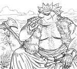 1boy axe bags_under_eyes bb_(baalbuddy) belt bracer closed_mouth dragon_quest dragon_quest_viii facial_hair facial_scar fat greyscale hand_on_own_knee highres looking_at_viewer male_focus monochrome nose_picking outdoors sack scar scar_on_cheek sitting solo spiked_helmet stubble yangus