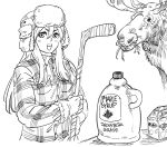 1girl :d bb_(baalbuddy) canada fur_hat gloves greyscale hat highres hockey_stick holding leaf long_hair looking_at_viewer maple_leaf monochrome moose open_mouth plaid_jacket racoona_sheldon sekaiju_no_meikyuu shin_sekaiju_no_meikyuu simple_background smile solo white_background