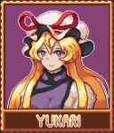 1girl blonde_hair bow breasts hat hat_ribbon long_hair lowres mob_cap nukekip pixel_art ribbon smile solo touhou violet_eyes yakumo_yukari