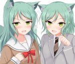 2girls :d animal_ear_fluff animal_ears bang_dream! black_neckwear blazer blush bow bowtie braid brown_shirt cat_ears cat_girl cat_tail collared_shirt commentary_request ensaiburi fang flying_sweatdrops green_eyes green_hair grey_jacket hair_bow hand_up hikawa_hina hikawa_sayo jacket kemonomimi_mode long_hair long_sleeves multiple_girls necktie open_mouth red_neckwear sailor_collar school_uniform serafuku shirt siblings simple_background sisters sleeves_past_wrists smile sparkle sweat tail twin_braids twins v-shaped_eyebrows white_background white_sailor_collar white_shirt yellow_bow