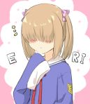 1girl :o bangs blue_shirt blush bow brown_hair commentary_request copyright_request engiyoshi facing_viewer hair_bow hair_over_eyes hand_up long_sleeves notice_lines parted_lips pink_bow red_ribbon ribbon sailor_collar school_uniform serafuku shirt sleeves_past_fingers sleeves_past_wrists solo twintails upper_body white_sailor_collar