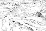 1girl bear cape fate/grand_order fate_(series) footprints from_behind hat highres long_hair monochrome mountain qmiqun scenery shirou_(fate/grand_order) sitonai smile
