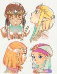 blonde_hair blue_eyes brown_hair earrings headwear jewelry pauldrons pointy_ears princess_zelda short_hair the_legend_of_zelda the_legend_of_zelda:_ocarina_of_time the_legend_of_zelda:_twilight_princess tiara uzucake young_zelda zelda_musou