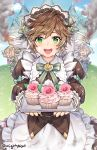 3girls blush breasts brown_hair castle cupcake dragalia_lost eyebrows_visible_through_hair food gebyy-terar green_eyes highres holding holding_tray large_breasts long_sleeves looking_at_viewer messy_hair multiple_girls open_mouth puffy_long_sleeves puffy_sleeves short_hair smile tomboy tray twitter_username upper_teeth