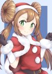 1girl absurdres blush breasts brown_hair christmas closed_mouth double_bun green_eyes hat highres long_hair looking_at_viewer mei_(pokemon) pokemon pokemon_(game) pokemon_bw2 smile solo twintails
