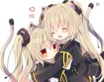 2girls animal_ear_fluff animal_ears bangs black_dress blush cat_ears closed_mouth dress dual_persona hair_between_eyes hug long_hair long_sleeves multiple_girls nayu_(rhododendron) nora_cat nora_cat_channel open_mouth red_eyes silver_hair simple_background smile tail tearing_up upper_body very_long_hair virtual_youtuber white_background
