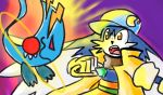 beast blue_headwear brown_collar coat gem gloves green_belt jewelry kaze_no_klonoa klonoa overm00n pac-man pants pointy_ears purple_background ring yellow_coat yellow_eyes yellow_gloves