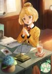 1girl :d bangs blonde_hair blurry book commentary_request cup depth_of_field desk doubutsu_no_mori drinking_glass eyebrows_visible_through_hair flower hair_bun humanization hydrangea ice ice_(ice_aptx) ice_cube iced_tea indoors jacket long_sleeves looking_at_viewer microphone neck_ribbon open_book open_mouth own_hands_together paper parted_bangs pen plant potted_plant red_neckwear red_ribbon ribbon shizue_(doubutsu_no_mori) short_hair smile solo sparkle tanukichi_(doubutsu_no_mori) tile_floor tiles upper_body yellow_eyes yellow_jacket