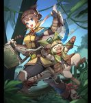 1girl 1other animal_hood book boots brown_hair cat_hood catin fangs felyne fingerless_gloves gloves handler_(monster_hunter_world) headband hood monster_hunter monster_hunter:_world open_mouth paws plant smile tree vines whiskers