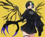 1girl black_hair blush claws fang from_below green_eyes hair_over_one_eye highres kasagarasu looking_at_viewer monster_girl multicolored_hair original short_hair smile solo standing thigh_strap wings yellow_background