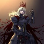 1girl arm_up armor armored_dress artoria_pendragon_(all) blonde_hair blood breastplate crown dark_excalibur fate/grand_order fate_(series) gauntlets pauldrons planted_sword planted_weapon saber_alter saber_ruri solo sword weapon yellow_eyes