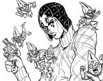 1boy araki_hirohiko_(style) bb_(baalbuddy) closed_mouth greyscale guido_mista gun handgun hat highres holding holding_gun holding_weapon jojo_no_kimyou_na_bouken looking_at_viewer male_focus monochrome revolver sex_pistols_(stand) simple_background solo sweater vento_aureo weapon white_background