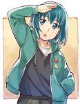 1girl :o badge blue_eyes blue_hair button_badge hand_in_pocket hand_up highres hina_(hinamatsuri) hinamatsuri_(manga) hood hood_down hooded_jacket jacket sakino_shingetsu short_hair simple_background solo standing