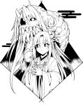 1girl bangs commentary_request copyright_request flower hair_flower hair_ornament horn japanese_clothes kimono long_hair long_sleeves looking_at_viewer monster parted_bangs sharp_teeth shiseki_hirame slit_pupils teeth worms