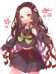 1girl absurdres baguette bangs black_hair black_sailor_collar black_serafuku black_shirt black_skirt bread brown_hair commentary_request floral_background food food_in_mouth forehead gradient_hair green_neckwear hair_ribbon highres kamado_nezuko kanayell kimetsu_no_yaiba long_hair long_sleeves looking_at_viewer mouth_hold multicolored_hair neckerchief parted_bangs pink_ribbon pleated_skirt red_eyes ribbon sailor_collar school_uniform serafuku shirt signature skirt sleeves_past_wrists solo very_long_hair