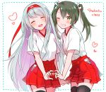 2girls ^_^ ^o^ anbutter_siruko black_legwear blush closed_eyes cowboy_shot green_eyes green_hair grin hair_between_eyes hair_ribbon hakama hakama_skirt headband heart heart_hands heart_hands_duo japanese_clothes kantai_collection long_hair multiple_girls one_eye_closed open_mouth red_hakama red_headband ribbon short_hair short_sleeves shoukaku_(kantai_collection) silver_hair smile thigh-highs twintails white_ribbon zuikaku_(kantai_collection)