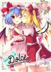2girls bat_wings blonde_hair blue_hair blush bow cheek_kiss closed_eyes commentary_request cover crystal eyebrows_visible_through_hair flandre_scarlet flower hat hat_bow highres kiss mob_cap multiple_girls one_eye_closed open_mouth petticoat pink_flower pink_headwear puffy_short_sleeves puffy_sleeves red_bow red_eyes red_skirt red_vest remilia_scarlet ribbon rose ruhika short_hair short_sleeves siblings sisters skirt smile standing touhou vest wings wrist_cuffs